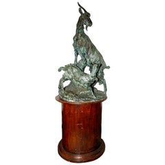 Large 19th Century Bronze of Mountain Goats. Signed; Giovita Lombardi