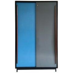 Large Cabinet with Blue/Grey Metal Doors by Willy Van Der Meeren, Belgium, 1950s