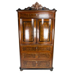 Large Cabinet of Polished Mahogany and Walnut, in Great Antique Condition, 1880