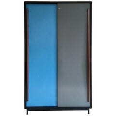 Large Cabinet with Blue/Grey Metal Doors by Willy Van Der Meeren, Belgium, 1950s
