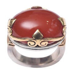 Large Cabochon Carnelian and 18 Karat Gold Dome Cocktail Ring