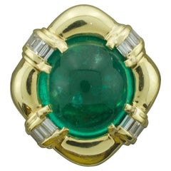 Large Cabochon Emerald and Diamond Ring in 18k Yellow Gold