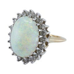 Large Cabochon Opal and Diamond Ring