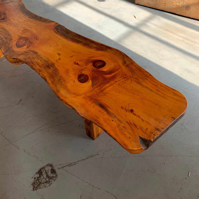 Large Californian Live Edge Bench in Solid Wood For Sale 8