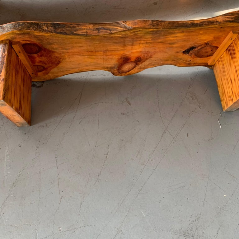 Large Californian Live Edge Bench in Solid Wood For Sale 10