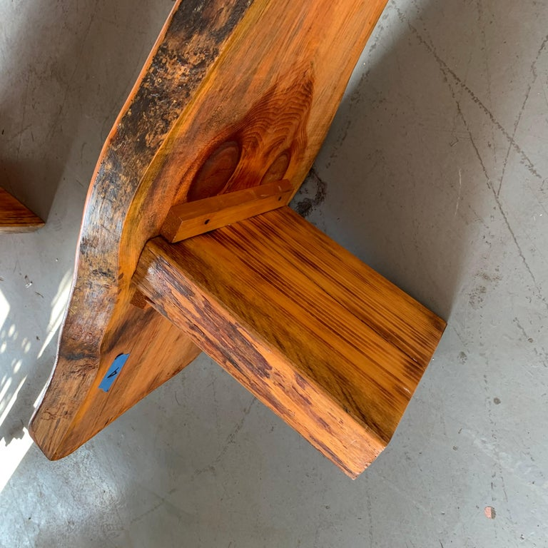Large Californian Live Edge Bench in Solid Wood For Sale 13