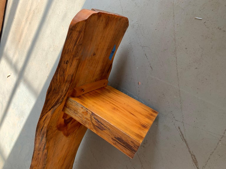 Large Californian Live Edge Bench in Solid Wood For Sale 2