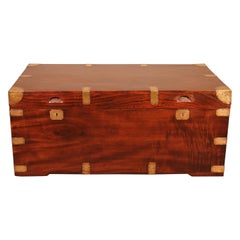 Large Campaign Chest in Camphor Wood, 19th Century