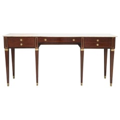 Large Canaletto Walnut Console Table by Paolo Buffa with Marble Top, Italy 1950s