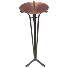 Large Candlestick in Wrought Iron and Brass, circa 1960