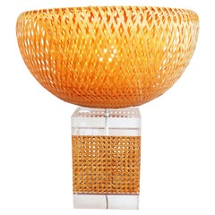 Large Caning and Lucite Table Lamp, France, 1970s