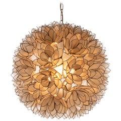 Large Capiz-Shell Pendant Light Lotus Ball, 1960s