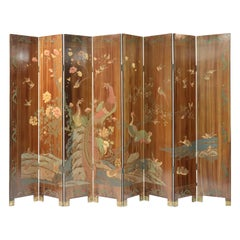 Large Caramel Hand Painted Chinoiserie Screen