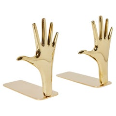 Large Carl Auböck Model #4219 'Hands' Brass Bookends