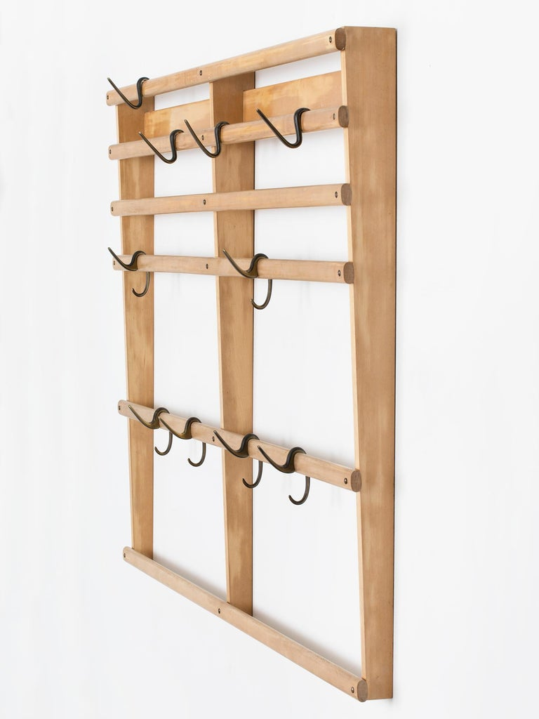Mid-Century Modern Large Carl Auböck Wall Mounted Coat Rack in Maple and Brass For Sale