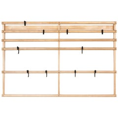 Large Carl Auböck Wall Mounted Coat Rack in Maple and Brass