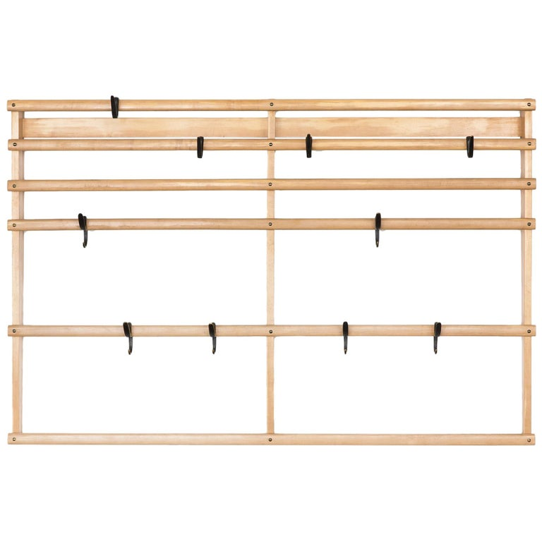Large Carl Auböck Wall Mounted Coat Rack in Maple and Brass For Sale