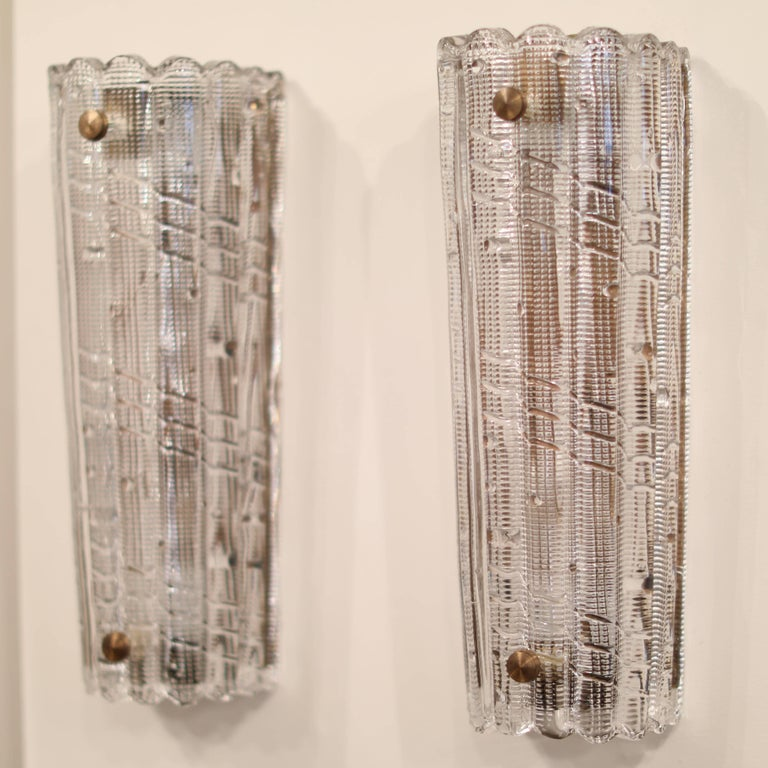 Swedish Large Carl Fagerlund for Orrefors Glass Sconces, circa 1970s For Sale