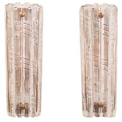 Large Carl Fagerlund for Orrefors Glass Sconces, circa 1970s