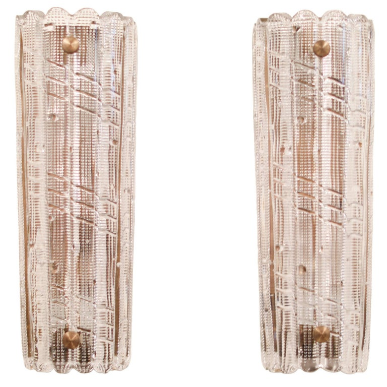 Large Carl Fagerlund for Orrefors Glass Sconces, circa 1970s For Sale