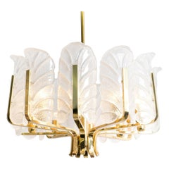 Large Carl Fagerlund Glass Leaves Brass Chandelier by Orrefors, Early 1960s