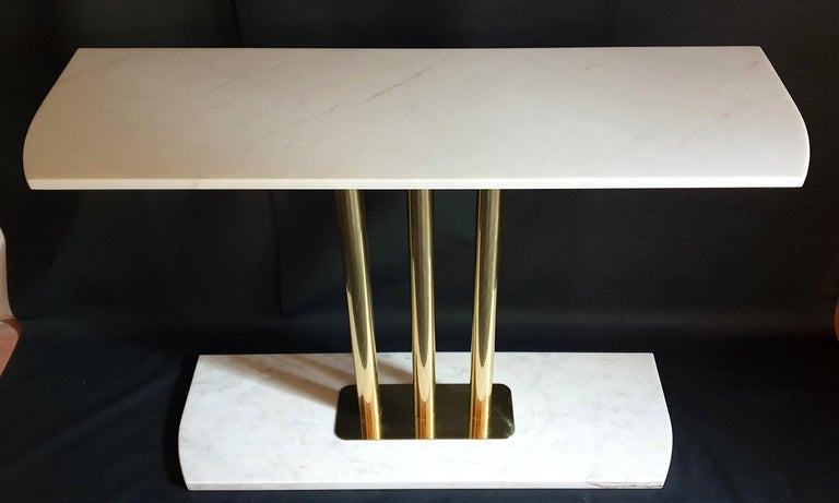 Late 20th Century White and Gray Carrara Marble and Brass Mid-Century Modern Console Table, Italy For Sale