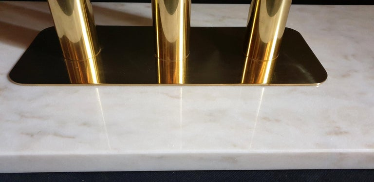 White and Gray Carrara Marble and Brass Mid-Century Modern Console Table, Italy For Sale 3