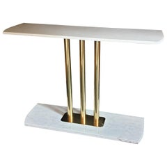 Large Carrara Marble and Brass Mid-Century Modern Console Table, Italy