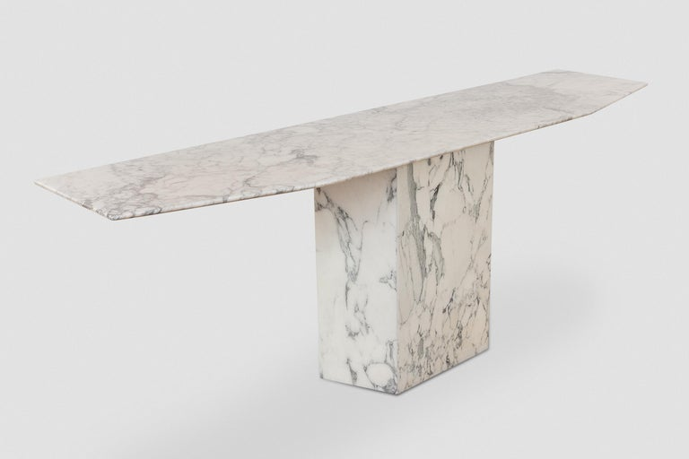 Mid-Century Modern Large Carrara Marble Console Table, Italy, 1960s For Sale