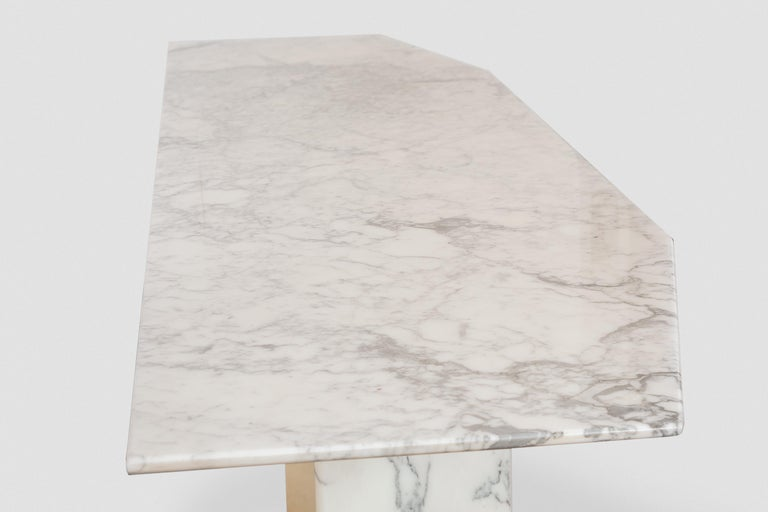 Italian Large Carrara Marble Console Table, Italy, 1960s For Sale