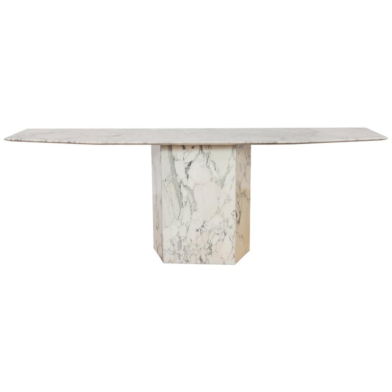 Large Carrara Marble Console Table, Italy, 1960s For Sale