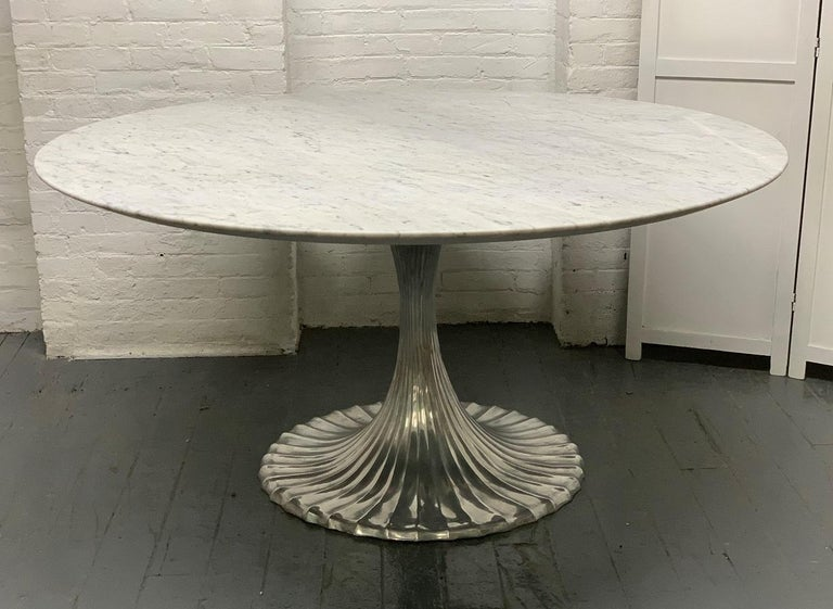 Modern Large Round Carrara Marble-Top Dining Table with Cast Aluminum Base For Sale