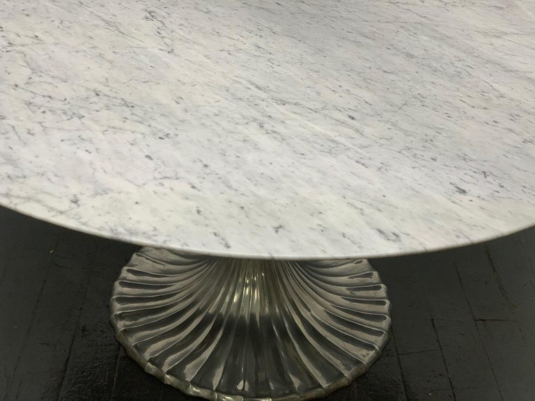 Large Round Carrara Marble-Top Dining Table with Cast Aluminum Base In Good Condition For Sale In New York, NY