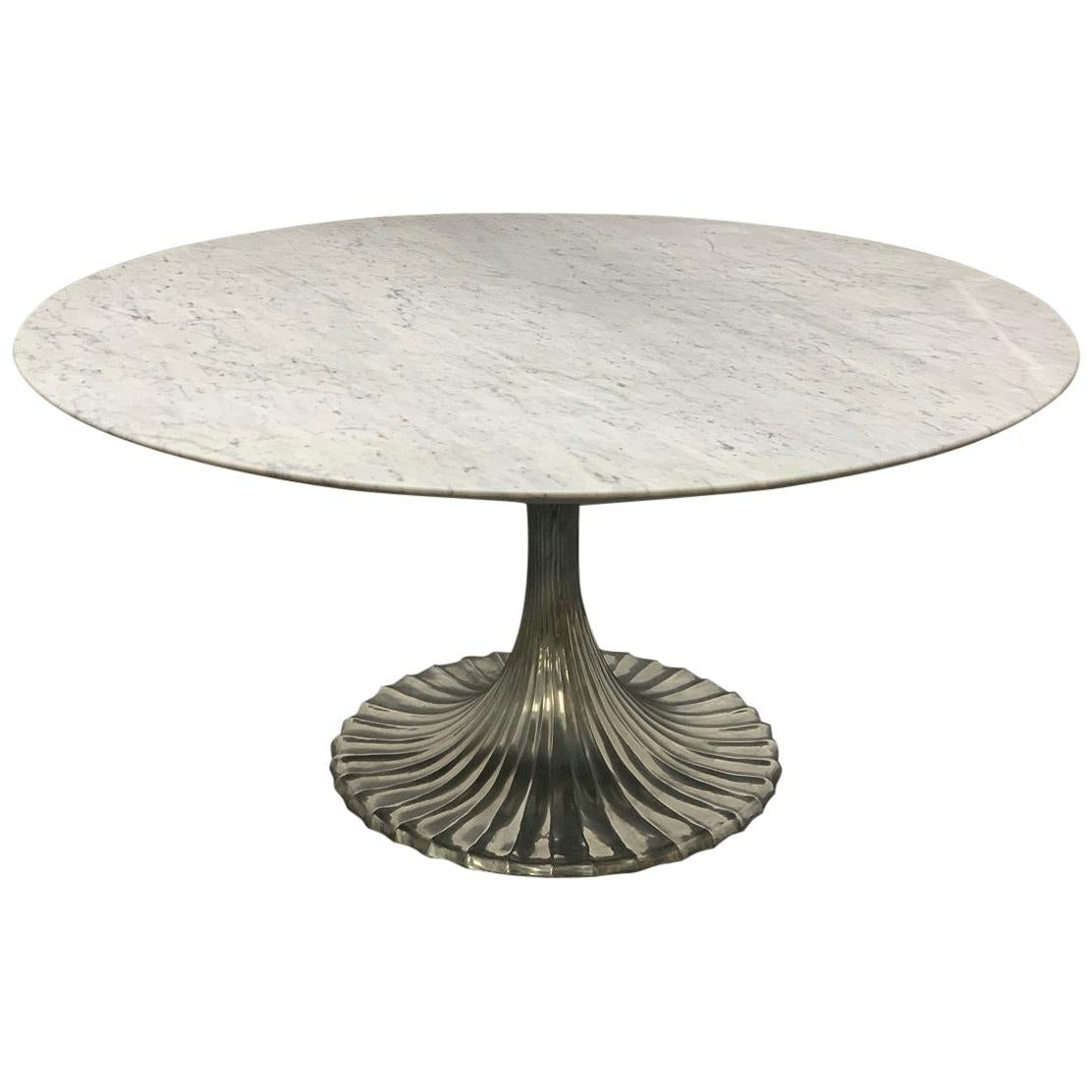 Large Round Carrara Marble-Top Dining Table with Cast Aluminum Base