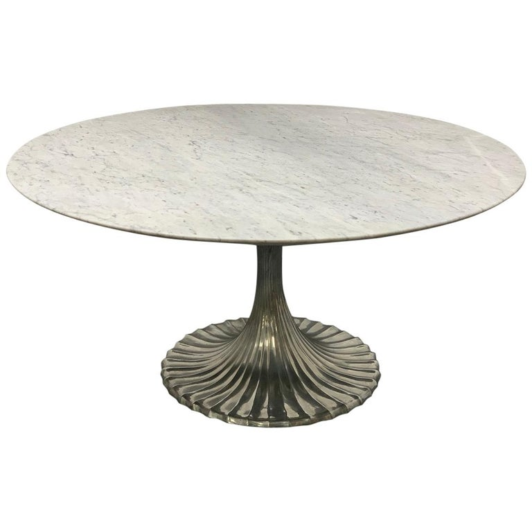 Large Round Carrara Marble-Top Dining Table with Cast Aluminum Base For Sale