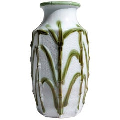 Large Carstens 1960s Mid-Century Modern West German Ceramic Pottery Vase Bamboo