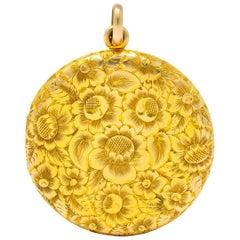Large Carter, Gough & Co. Edwardian 14 Karat Gold Locket Floral Pendant, 1900s