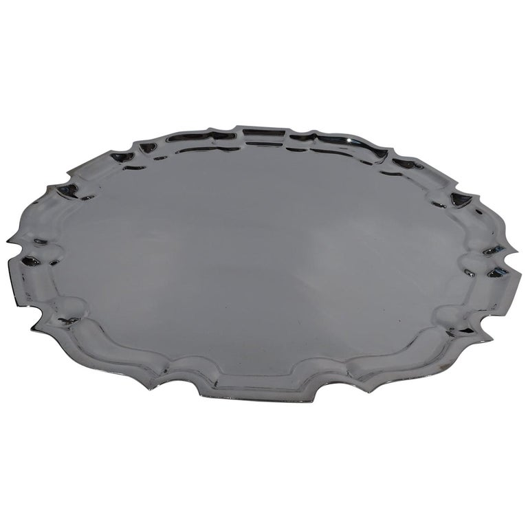 Large Cartier Sterling Silver Serving Tray with Georgian Piecrust Rim For Sale