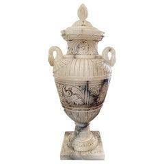 Large Carved Alabaster Urn Lamp
