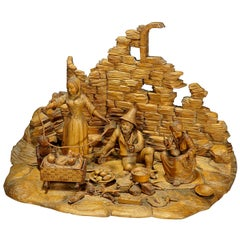 Large Carved Diorama of a Tyrolian Family, circa 1900