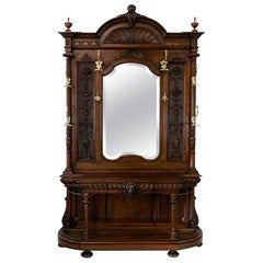 Large Carved English Solid Walnut Hall Stand