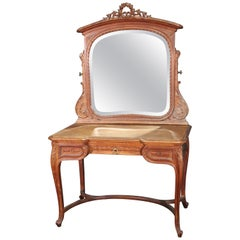 Large Carved French Louis XV Walnut Mirrored Ladies Vanity, circa 1920