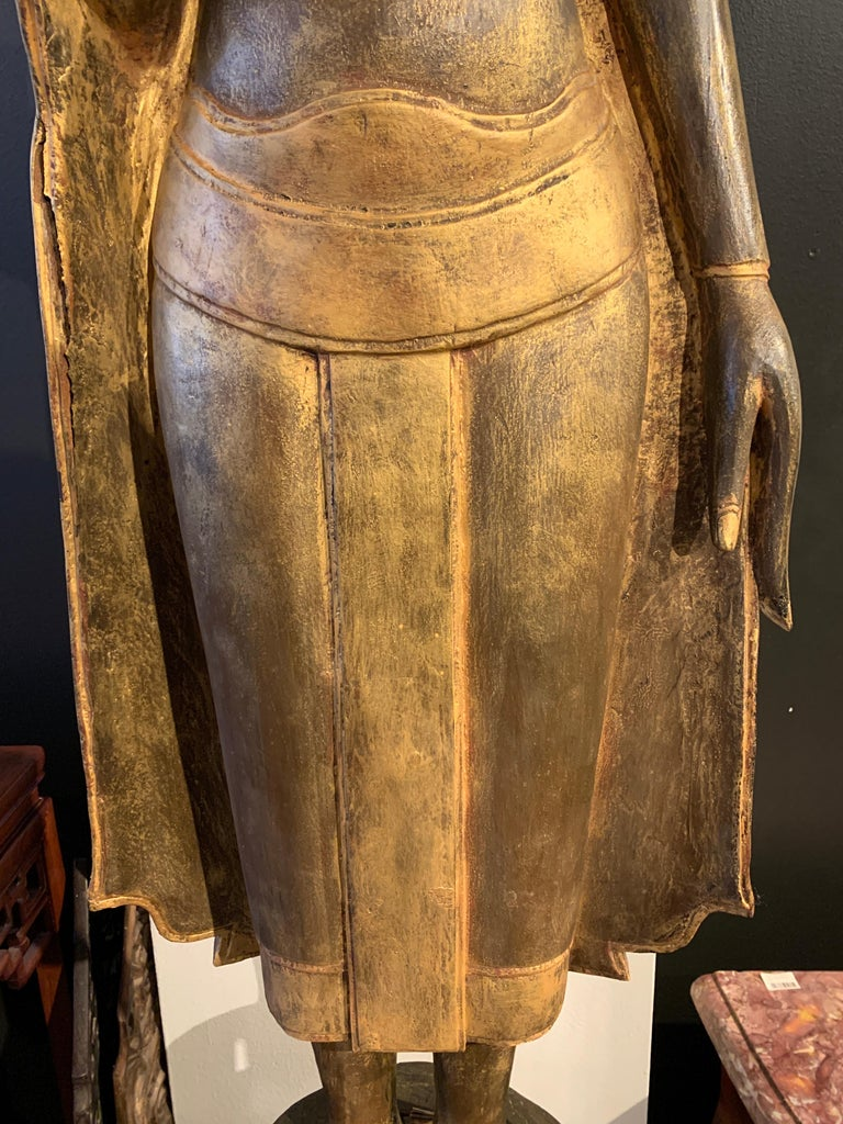 Large Carved Gilt Teak Standing Buddha, Northern Thailand, Early 20th Century For Sale 9