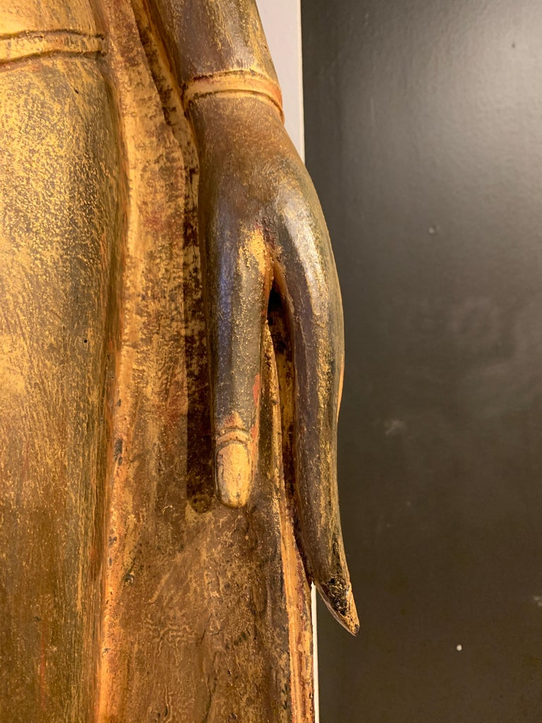 Large Carved Gilt Teak Standing Buddha, Northern Thailand, Early 20th Century For Sale 10