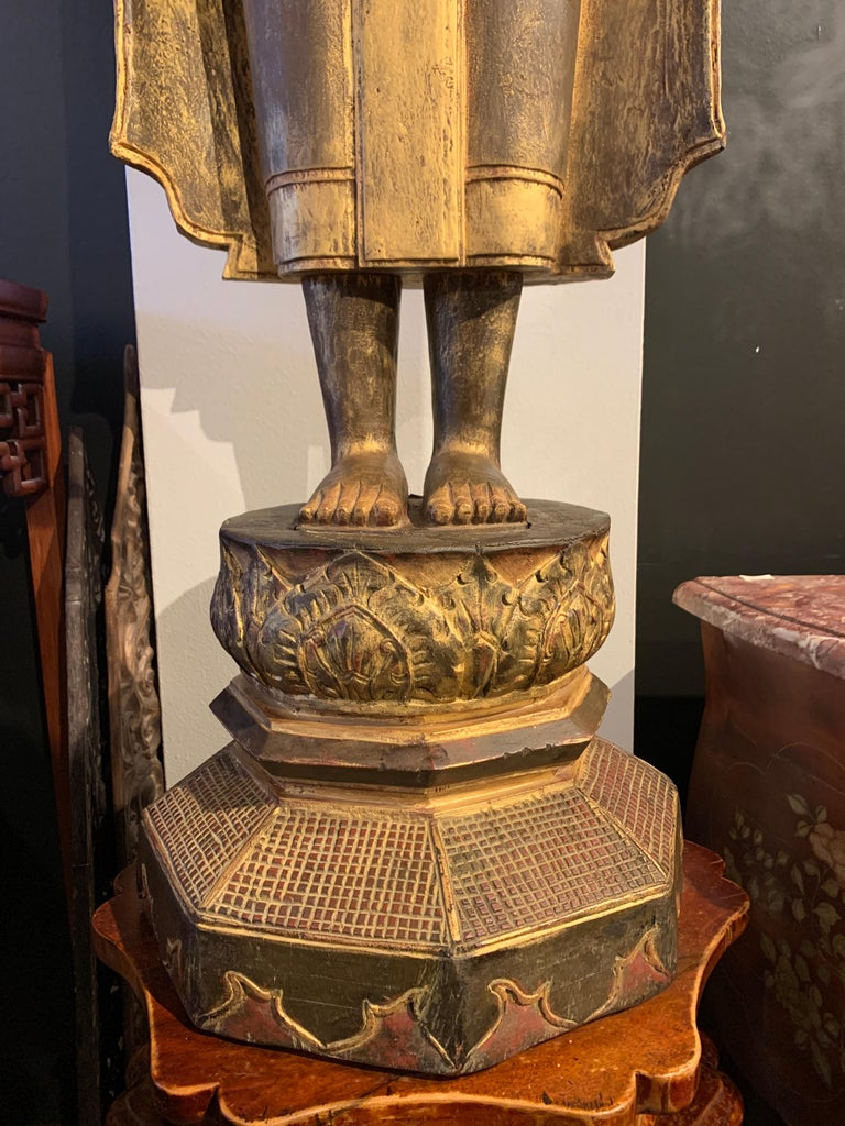 Large Carved Gilt Teak Standing Buddha, Northern Thailand, Early 20th Century For Sale 12