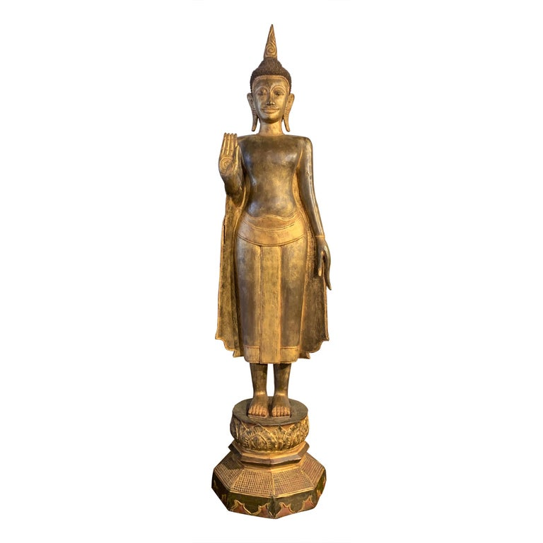 Large Carved Gilt Teak Standing Buddha, Northern Thailand, Early 20th Century For Sale