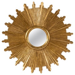 Large Carved Gilt Wood Sunburst Mirror