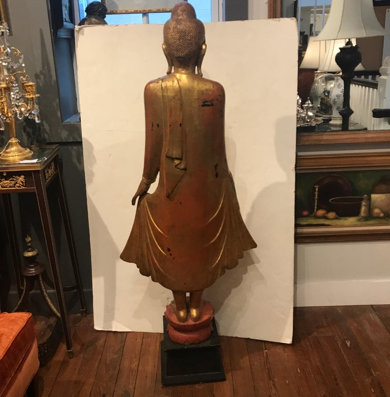 Large Carved Giltwood Thai Buddha For Sale 1