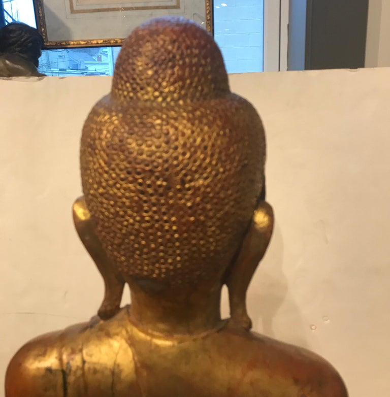 Large Carved Giltwood Thai Buddha For Sale 2