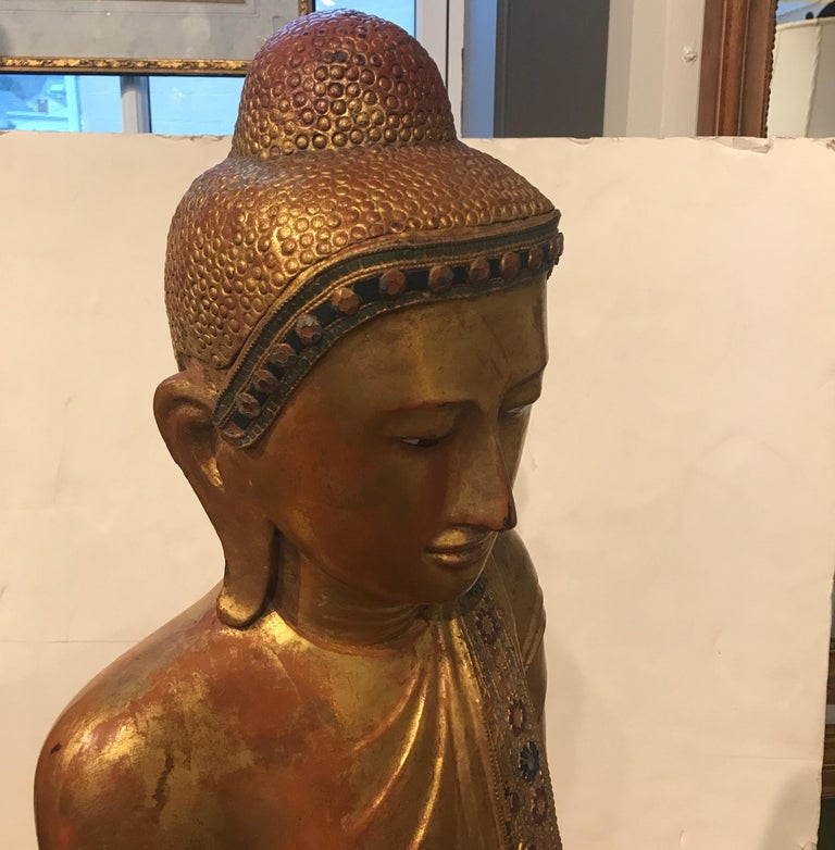Large Carved Giltwood Thai Buddha For Sale 3
